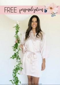 wedding photo - Short Kimono Satin Robe For Wedding. Bridesmaid Robes. Blush Bridal Robe. Personalized Robes. Custom Robes