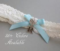 wedding photo - Personalized Garter, Something Blue Lace Wedding Garter, Lace Garter, Light Blue Bow, Garter with Silver Initial - Ivory White or Off White