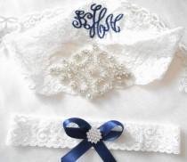 wedding photo - Wedding GarterTara Beautiful Lingerie Stretch Lace Customized Bridal Garter Set Rhinestone Setting on Lingerie Lace