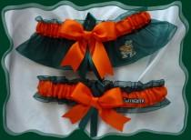 wedding photo - Miami Hurricanes Green/Orange Organza Ribbon Wedding Garter Set