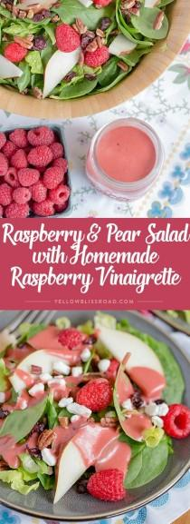wedding photo - Raspberry & Pear Salad With Homemade Raspberry Vinaigrette