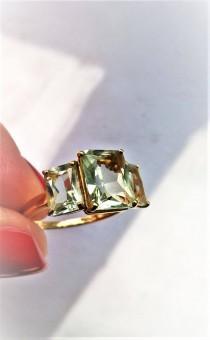 wedding photo - Art Deco Style 3 Stone Prasiolite Aqua Green Quartz Engagement Right Hand Promise Ring 14K Anniversary Vintage Estate Gift Idea Retro Boho