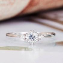 wedding photo - Moissanite Engagement Ring White Gold Diamond Round Cut Women Birthstone Three Stone Antique Bridal Anniversary Promise Wedding Ring