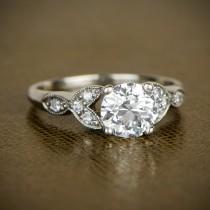 wedding photo - Estate Diamond Leaf Milgrain Engagement Ring