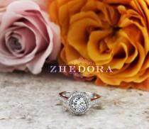 wedding photo - 2.0 CT Round Bezel Set Engagement Ring in 14k/18k White Gold ,Halo Bezel Engagement Ring, Moissanite Bezel Engagement Ring , Bezel Set Ring
