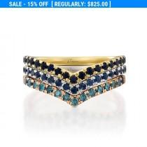 wedding photo - 14K Gold Diamond Engagement Ring, Blue Sapphire Ring, Triangle Ring, Blue Diamonds Ring, Unique Wedding Ring,