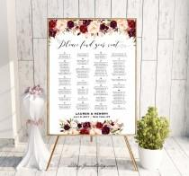 wedding photo - Burgundy Floral Alphabetical Seating Chart Template, Printable Wedding Seating Plan, up to 300 People, 24x36 Poster PDF Download #101