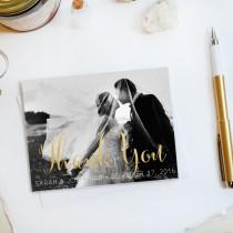 wedding photo - Wedding Thank You Card, Custom Photo Wedding Thank You Cards Gold Foil Wedding Thank You Cards Vintage Gold Foil Wedding Cards Sarah5