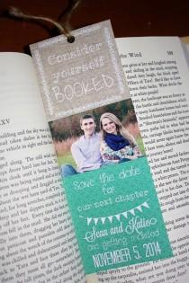 wedding photo - Save the Date Bookmarks - Any Event! FREE SHIPPING. Literary, Library Weddings-Storybook, book, fairytale.Custom colors, text.PDF or Printed