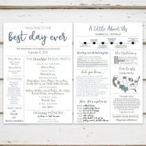 wedding photo - Printable Fun Infographic Wedding Program, Unique Wedding Program, Fun Program, Modern Program, Entertaining, Fun Facts, Hashtag, MB236