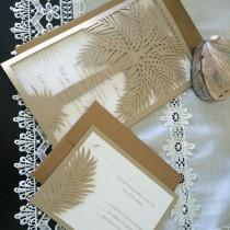 wedding photo - Custom Laser Cut Wedding Invitation, Palm Tree Tropical Destination Wedding