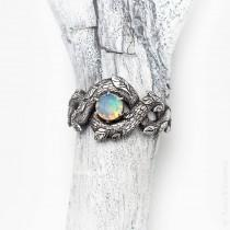 wedding photo - Unique Engagement Ring, Opal Promise Ring for Her, Opal Dragon Ring, Fantasy, Nature Inspired, Rainbow Gem Stone, Sterling Silver
