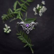 """wedding photo - Medieval Ring, Celtic Ring, Wedding Band, Engagement Ring, Silver V Shape Ring, Sterling Elven Jewelry, """"Woodland Dragon"""" Ring with Amethyst"""