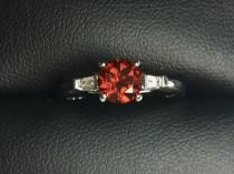 wedding photo - Diamond and Red Garnet 14K White Gold Engagement Ring, tapered baguette accent diamonds, classic engagement ring, size 7, natural red garnet