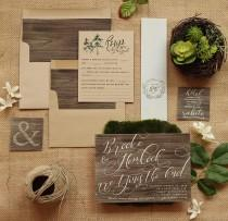 wedding photo - Rustic Wedding Invitation Set - Wood & Kraft Wedding Invite Suite for a Country Barn Wedding - Printable - Printed