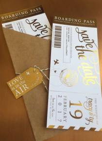 wedding photo - Shimmering Metallic Custom Boarding Pass Save the Dates- Several Foil Colors!