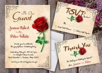 wedding photo - Beauty and The Beast Wedding Invitations - Beauty and The Beast Invitations - Vintage Invitations - Vintage Wedding - Beauty and The Beast