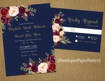 wedding photo - Romantic Navy Fall Wedding Invitation,Navy Blue,Burgundy,Marsala,Blush,Roses,Gold Print,Shimmery,Elegant,Printed Invitation,Wedding Set