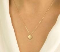 wedding photo - 14K White Gold Round Coin Necklace