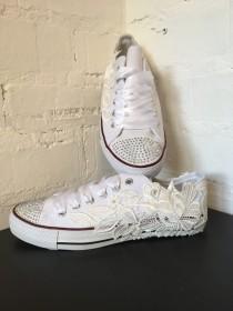 wedding photo - Converse Style Bridal Shoes Wedding Shoes Flats Lace Shoes Chucks