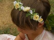 wedding photo - Yellow Rose Fairy Flower Headband Crown with Yellow Rosebuds, Green Leaves, and White Babys Breath, Floral Bridal Wreath A02