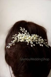 wedding photo - Sale - Ivory Wedding Hair Comb Silver Hair Comb Bridesmaid's Hair Comb Bridal Hairpiece Wedding Hair Bridal Hair Accessory Bridal Hair Piece