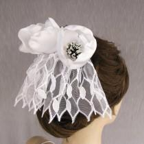 wedding photo - Mini Bridal Veil Head Piece: Tulip Fascinator with White Birdcage Veil, Bridal Flower Hairpiece Girl Holy First Communion Veil OOAK