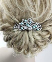 wedding photo - Blue Bridal Comb, Aqua Blue Wedding Hair Accessory, Crystal Blue Bridal Headpiece, Rhinestone Veil Combs, Ocean Blue Bridal Hair Jewelry