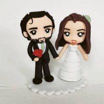 wedding photo - Custom Cake Topper, Custom Couple Wedding, Unique Cake Topper Commissioned clay, Custom Chibi