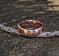 wedding photo - Male Wedding band- Rose Gold Rounded Edges Thick Plain Satin Finish Wedding Band