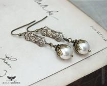 wedding photo - Edwardian Ivory Pearl Earrings, Pearl Bridal Earrings, 1920's Inspired Earrings, Brass Filigree Earings, Vintage Style Wedding, Handmade UK