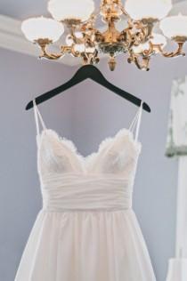 wedding photo - Elegant V-neck Thin Straps Summer Wedding Dress BC664