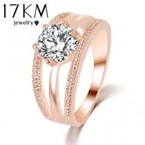wedding photo - Austrian Crystal Ring Rose Gold Color Flower Engagement Ring for Women