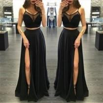 wedding photo - Black Prom Dresses, Two Pieces Prom Dress, Side Slit Prom Dress,long Prom Dress,party Dress,BD1988