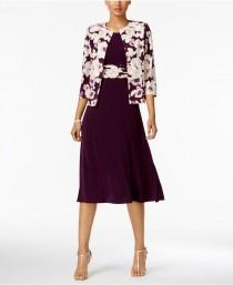 wedding photo - Jessica Howard Floral-Print-Contrast Dress and Jacket