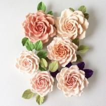 wedding photo - Rose - brooch in pink - orange tones Polymer clay flower