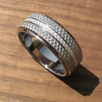 wedding photo - Stainless Steel and Silver Knurled Ring Comfort Fit