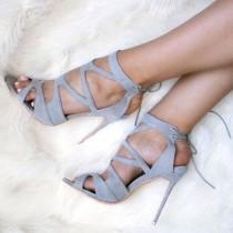 wedding photo - Gray Cutout Back Lace Up Sandals
