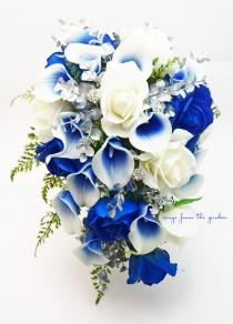 wedding photo - Cascade Bridal Bouquet Silver Blue White - Picasso Callas Real Touch White Royal Blue Roses, Rhinestones - Customize for your Colors