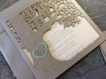 wedding photo - Custom Laser Cut Wedding Invitation, Love Story Tree