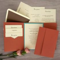 wedding photo - Folio Pocket Invitation Set - Thermography Wedding Invite - Classic Wedding Invite - Wedding Invite Suite - AV6097