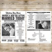 wedding photo - Printed Wedding Newspaper Program fully Customizable
