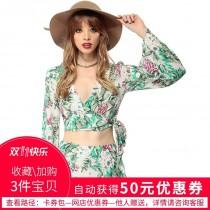 wedding photo - Sexy Printed Slimming Flare Sleeves V-neck Vegetation Tie Crop Top Chiffon Top Top - Bonny YZOZO Boutique Store