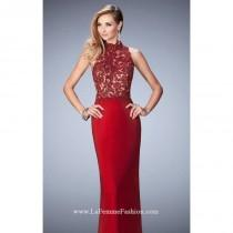 wedding photo - Deep Red Beaded Lace Net Gown by La Femme - Color Your Classy Wardrobe