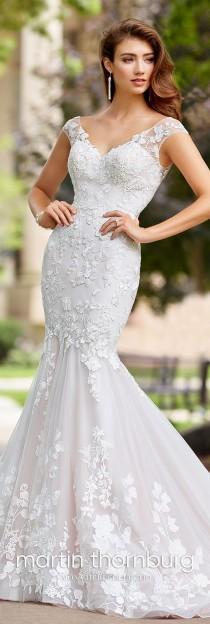 wedding photo - Lace & Tulle Trumpet Wedding Dress With A Train- 18276 Serenade