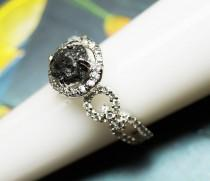 wedding photo - 2.89 cts Black Raw diamond ring, Black diamond ring, Black Uncut diamond engagement ring, Black rough diamond ring, natural diamond ring
