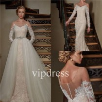 wedding photo - Wedding Dresses Bridal Mermaid Detachable Gown Custom Lace Long Sleeve Halter