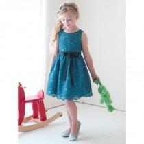 wedding photo - Teal Lace Dress w/ Sash Style: D1227 - Charming Wedding Party Dresses