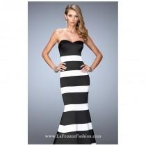 wedding photo - Black/White Strapless Striped Mermaid Gown by La Femme - Color Your Classy Wardrobe