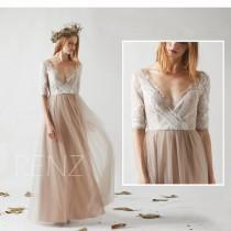 wedding photo - Bridesmaid Dress Pale Khaki Tulle Wedding Dress,Off White Lace 3/4 Sleeves Maxi Dress,Beaded Illusion Deep V Neck Long Evening Dress(HS529)